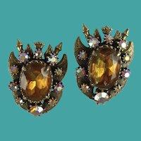 Vintage Florenza Heraldic Clip-on Earrings Book Piece