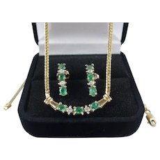 10k Gold Emerald & Diamond Necklace & Earrings Set