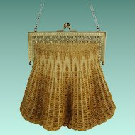 Vintage 1920s Yellow Beaded Purse - Swag Purse