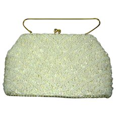 Vintage 1960s Beaded & Sequin Bridal Purse-Beautiful