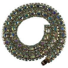 Vintage Sherman Aurora Borealis Swarovski Crystal Rhinestone Necklace-Spectacular