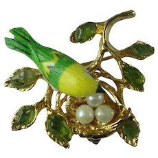 Vintage Swoboda Brooch Bird Nest Peridot Cultured Pearl