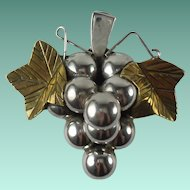 Vintage Sterling Silver Mexico Grapes Pendant Brooch