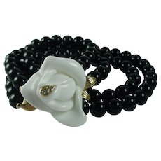 Vintage Kenneth Jay Lane Midnight Rose Beaded Necklace