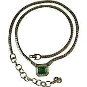 Vintage Christian Dior Germany Faux Emerald Rhinestone Necklace