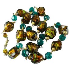 Vintage Art Deco Foiled Glass Bead Necklace