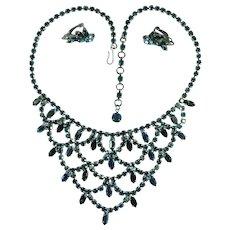 Vintage Green Aurora Borealis Rhinestone Bib Necklace and Matching Earrings