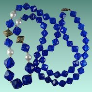 Vintage Blue Plastic Bead Faux Pearl Bead Long Necklace