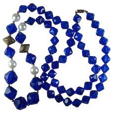 Vintage Cobalt Blue Plastic Bead Faux Pearl Bead Long Necklace