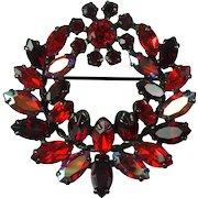 Vintage Sherman Red Aurora Borealis Austrian Crystal Rhinestone Japanned Metal Wreath Brooch