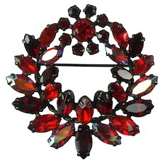 Vintage Sherman Red Aurora Borealis Austrian Crystal Rhinestone Japanned Metal Wreath Brooch