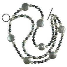 Freshwater Cultured Coin Pearl Baroque Pearl Three Strand Sterling Silver Clasp Bracelet