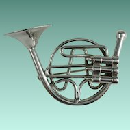 Vintage French Horn Silvertone Instrument Brooch