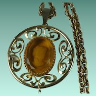 Vintage 1970s Glass Intaglio Cameo Large Pendant Necklace