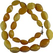 Vintage Baltic Amber Royal Butterscotch Egg Yolk Faceted Bead Necklace