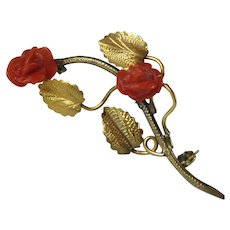 Vintage Genuine Coral Carved Salmon Red Roses 800 Silver Brooch