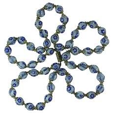Vintage Venetian Millefiori Royal Blue Glass Bead Necklace