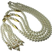 Vintage 1960s Long Faux Pearl Rhinestone Statement Tassel Necklace