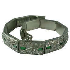 Art Deco Rhinestone Pot Metal Line Bracelet