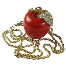 Vintage KJL Apple Pendant Necklace