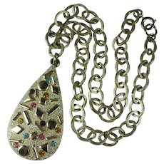 Vintage 1960s Sarah Coventry Rhinestone Pendant Necklace