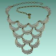 Vintage Vendome White Feathers Bib Necklace