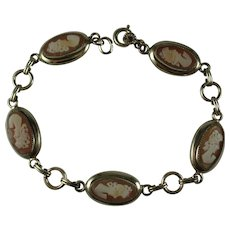 Vintage Gold FIlled Carnelian Shell Cameo Bracelet