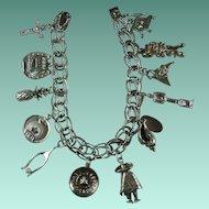 Vintage Sterling Charm Bracelet-12 Charms