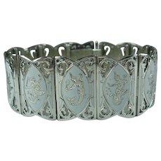 Vintage Siam Sterling Silver White Enamel Panel Bracelet