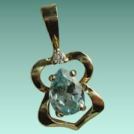 Vintage 14 Karat Yellow Gold Blue Topaz Diamond Pendant