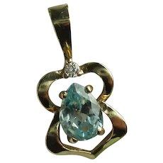 Vintage 14 Karat Yellow Gold Blue Topaz Diamond Pendant