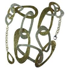 Geometric Design Hammered Sterling Silver 925 Large Flat Link Necklace