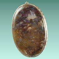 Vintage Dendrite Moss Agate Semi Precious Stone Oval Brooch