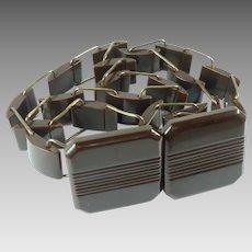 Art Deco 1930s Brown Bakelite Link Belt
