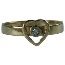 Vintage Modernist 14 Karat Gold Diamond Ring Elis Kauppi FInland