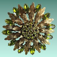Vintage Peridot Green Rhinestone Flower Metal Leaves Tiered Brooch