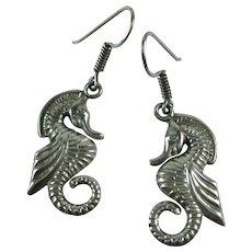 Vintage Seahorse Sterling Silver Taxco Earrings