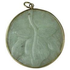 Vintage Jadeite Circular Carved Pendant