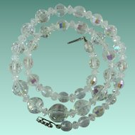 Vintage Aurora Borealis Faceted Crystal Bead Necklace