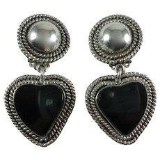 Vintage Taxco Sterling Silver Onyx Heart Clip-on Earrings