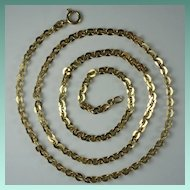 Vintage Italian 18 Karat Yellow Gold Cable Link Chain Necklace