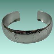 Vintage Sterling Silver Etched Cuff Bracelet