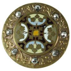 Antique Victorian Enamelled Gilt Metal Button