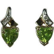 Vintage 10 Karat Gold Genuine Peridot and Diamond Earrings