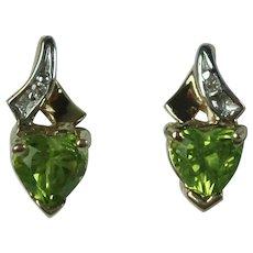 Vintage 10 Karat Gold Genuine Peridot and Diamond Earrings