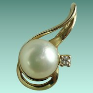 Vintage Diamond Pearl Yellow Gold Pendant