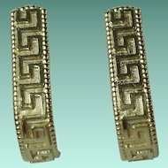 Vintage 14 Karat Yellow Gold Greek Key Design Earrings