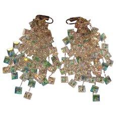 Vintage Rainbow Crystal Chandelier Earrings