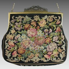 Vintage 1940s Micro Petit Point Purse Made in Austria