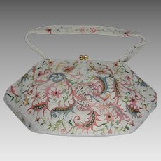 Vintage 1950s French Tambour Hand Beaded Wedding Purse